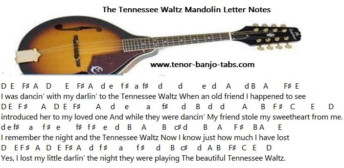 Easy mandolin letter notes for Tennessee Waltz