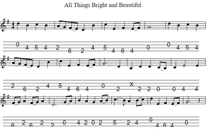 Mandolin tab for All things bright and beautiful in CGDA Tuning