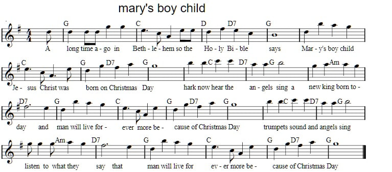 Mary's boy child sheet music in G Major