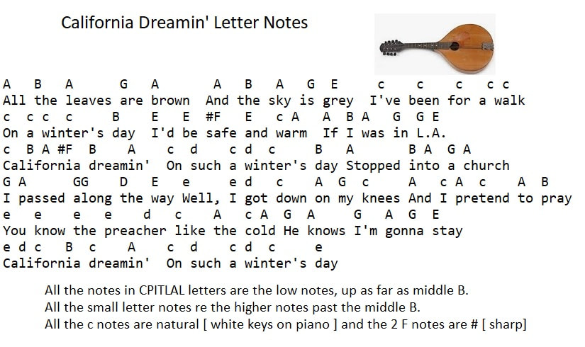Notes for California dreamin'