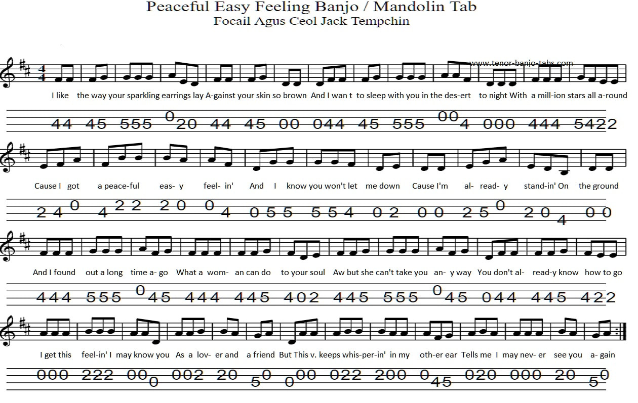 Peaceful easy feeling sheet music by The Eagles
