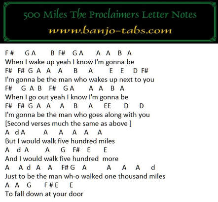 500 miles banjo letter notes for the proclaimers