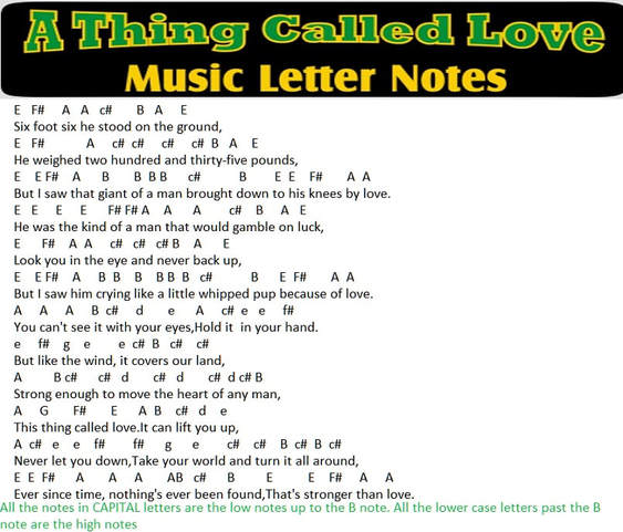 A Thing Called Love music letter notes for Johnny Cash song