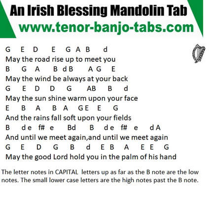 An Irish blessing mandolin / banjo letter notes
