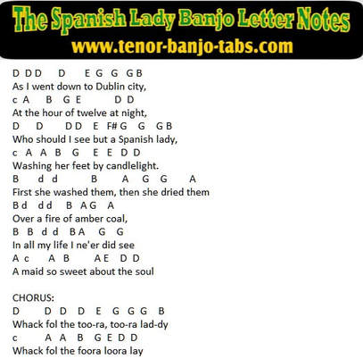 The spanish lady banjo letter notes