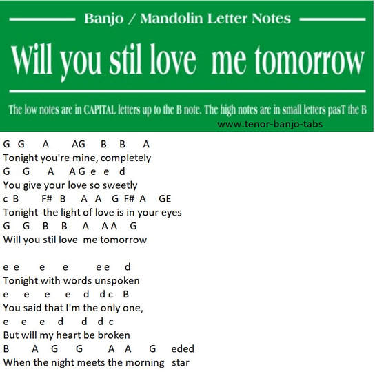 Will You Still Love Me Tomorrow | Mandolin Tab - Tenor Banjo Tabs