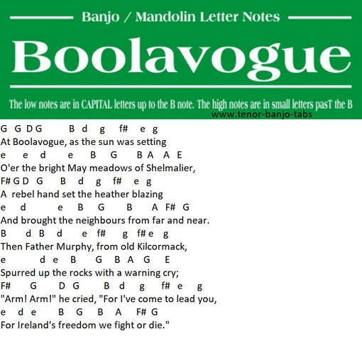 Boolavogue Banjo / Mandolin letter notes