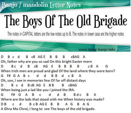 Boys of the old brigade banjo / mandolin letter notes