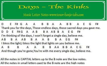 Days music notes by The Kinks