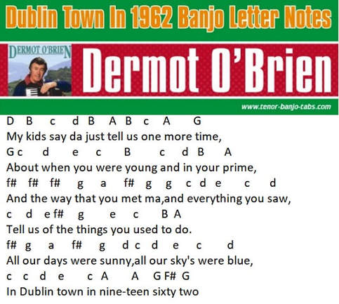 Dublin town in 1962 letter notes of song