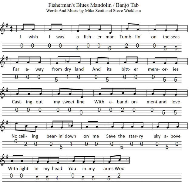 Fisherman's Blues sheet music in G major by The Waterboys