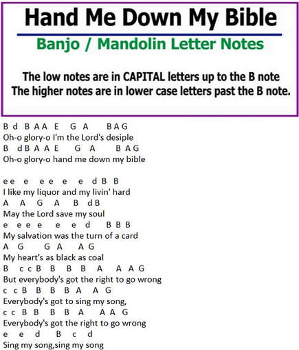 Hand me down by Bible banjo letter notes