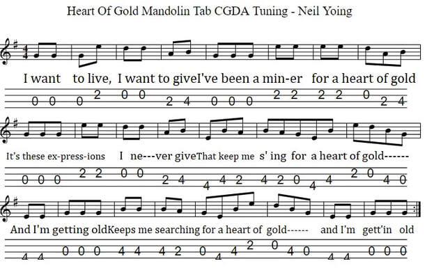 Heart of gold mandolin tab in cgda tuning