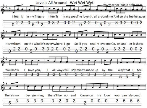 Love is all around us sheet music by Wet Wet Wet