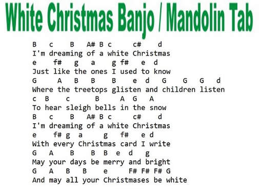 Mandolin and banjo notes for White Christmas