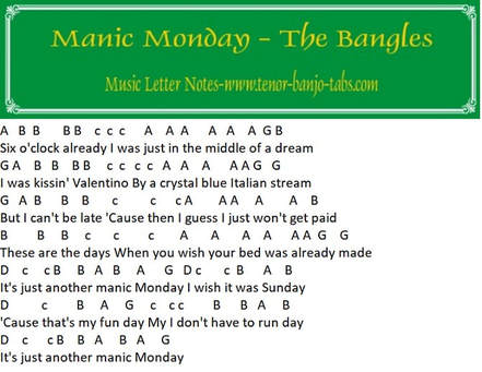 Manic monday the bangles music notes