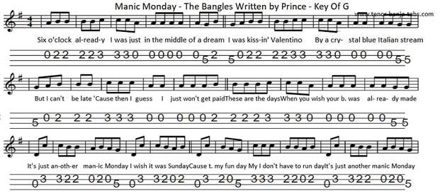Manic monday sheet music by the Bangles