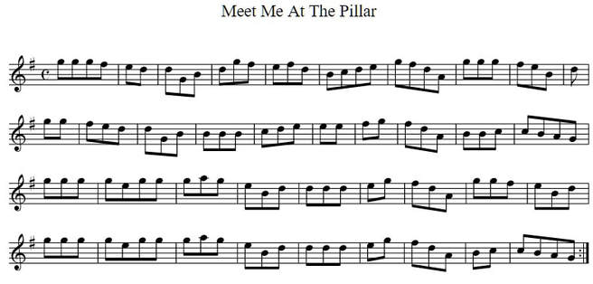 Meet me at the pillar sheet music in the key of D Major