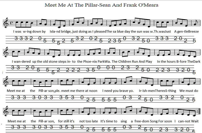 Meet Me At The Pillar Sheet Music And Banjo Tab