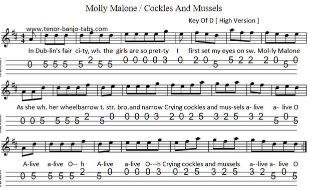 Cockles And Mussels mandolin tab key of D Major