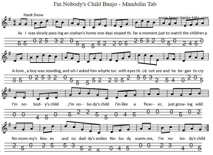 Nobodys Child Sheet music for banjo and mandolin