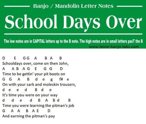 Schooldays over banjo letter notes