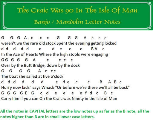 tHE CRAIC WAS 90 IN THE ISLE OF MAN BANJO LETTER NOTES