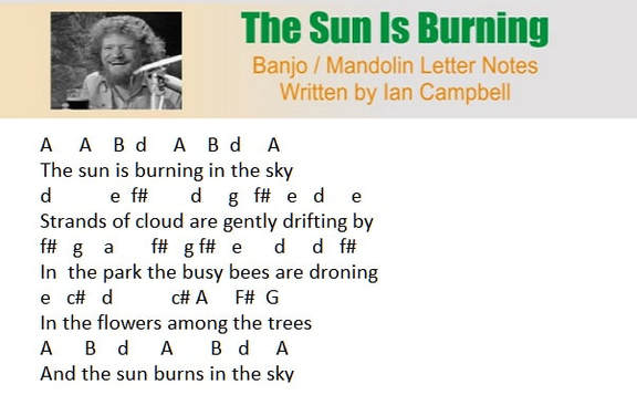The sun is burning banjo letter notes