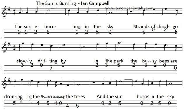 The Sun Is Burning Banjo / Mandolin Tab Luke Kelly
