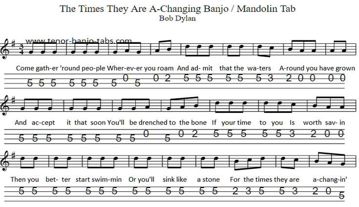 The times they are a-changin' banjo and mandolin sheet music