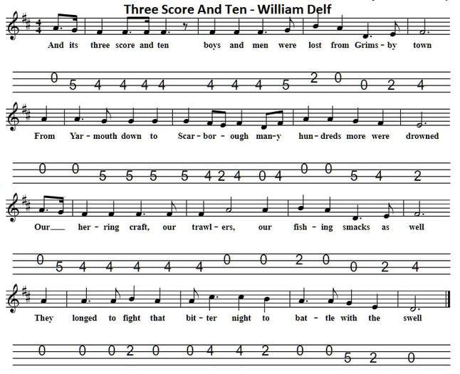Three score and ten banjo sheet music