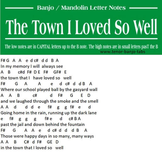 The town I loved so well banjo letter notes