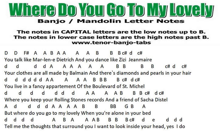 Where do you go to my lovely banjo music letter notes
