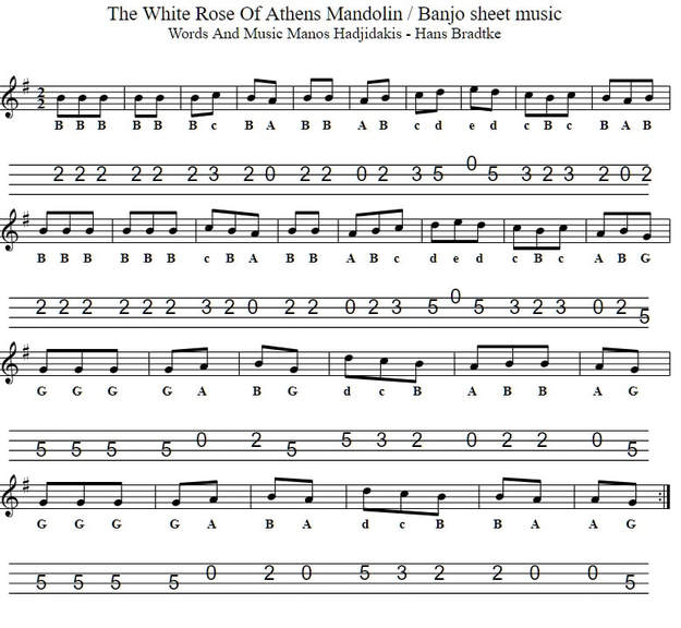 The white rose of Athens sheet music key of G Major