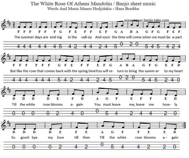 White rose of Anthens sheet music for mandolin