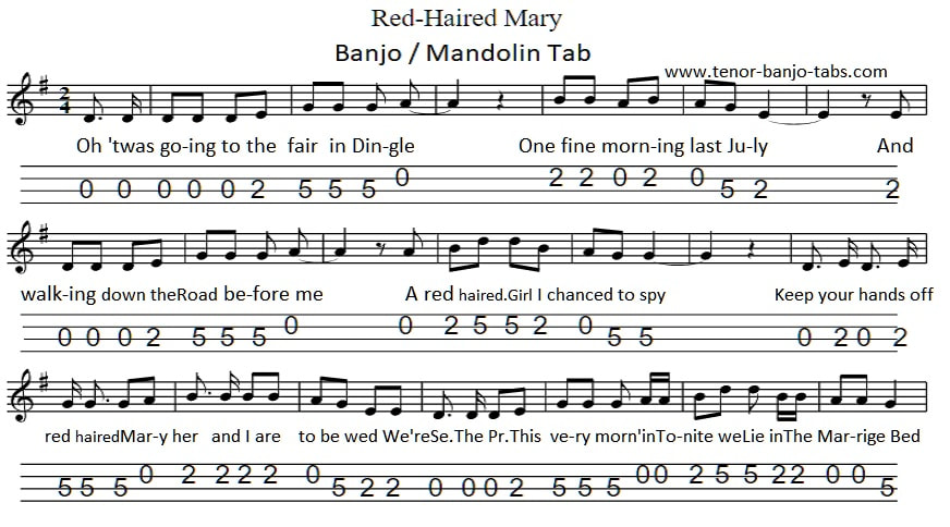 Red Haired Mary Banjo tab