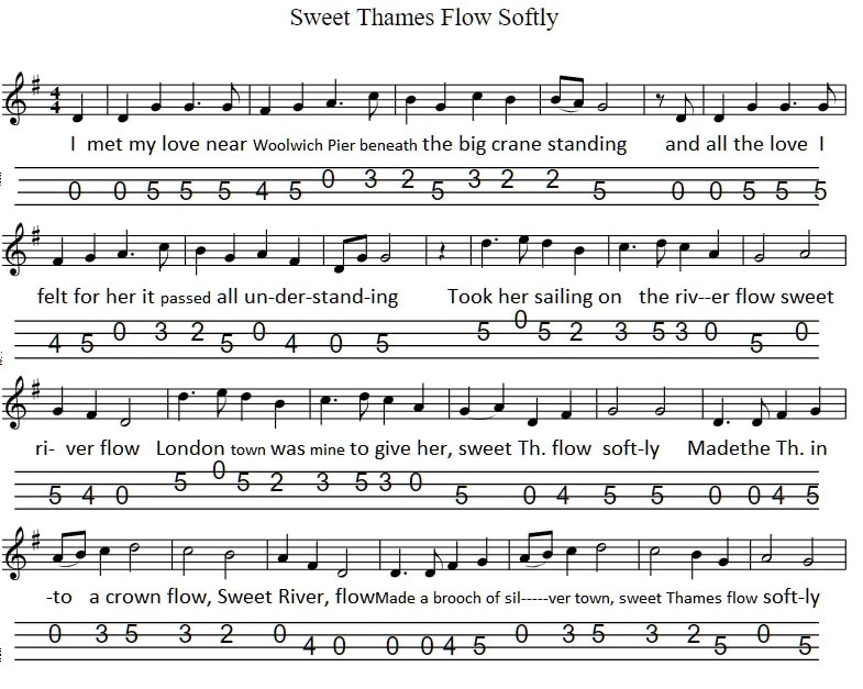 Sweet Thames flow softly banjo