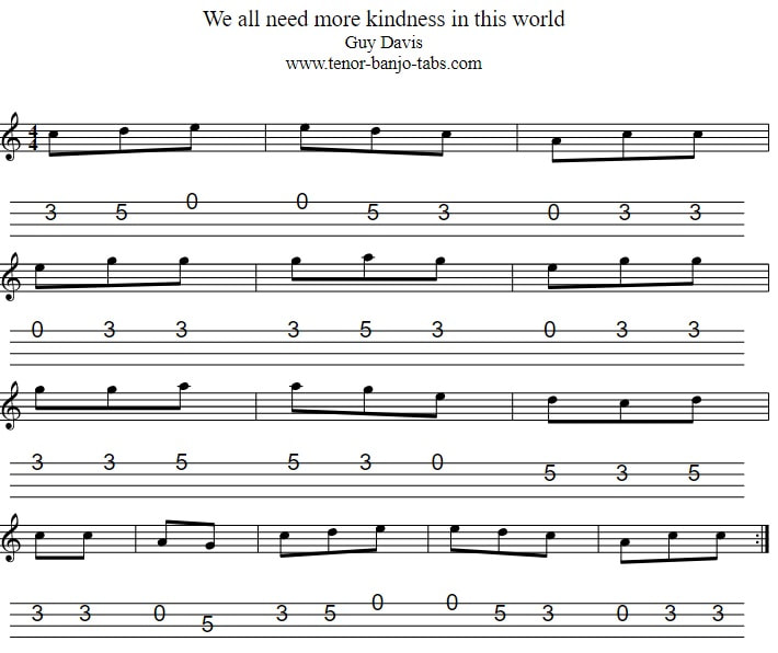 We All Need More Kindness In This World Banjo/Mandolin Tab in C Major