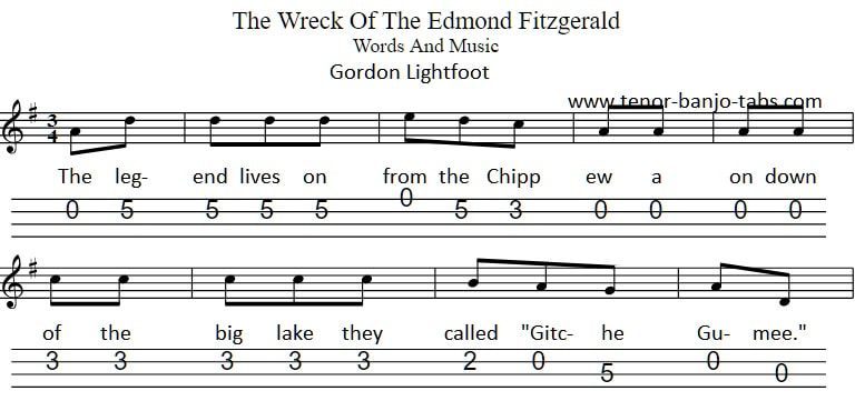 Wreck of the Edmond Fitzgerald banjo tab